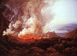 Pliny the Younger - Eruption of Vesuvius, 1826 painting by I.C. Dahl