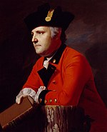 Painting of a determined-looking man in a red military coat with black lapels and a black hat