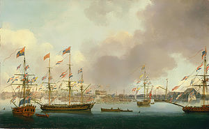 John Cleveley the Younger - Launch of HMS Alexander at Deptford in 1778 (BHC1875), by John Cleveley the Younger (NMM)