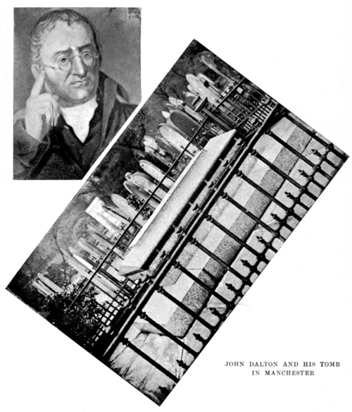 montage of John Dalton and his tomb in Manchester