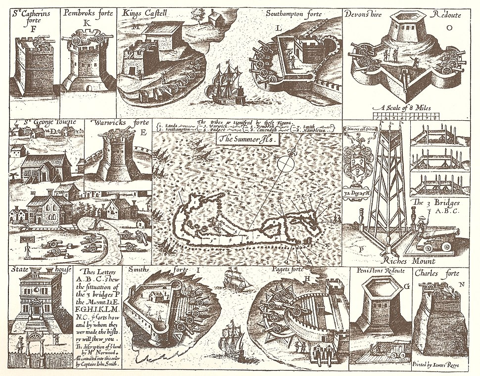 John Smith 1624 map of Bermuda with Forts 01