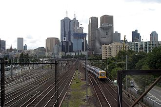 Jolimont Yard - Looking west over the former yard from the MCG footbridge