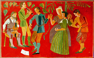 """Kåre Jonsborg - Design for tapestry """"Sommerdans"""" (""""Summer Dance"""") - This picture represented Norway in a series of postcards showing work of one selected artist from each European country, published by UNICEF United Nations Children's Fund just before 1980. The design is displayed in Voksenåsen Hotel, Oslo."""