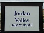 Jordan Valley station sign on passenger platform, Apr 16.jpg