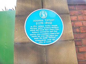 Joshua Tetley - A blue plaque detailing his life at the Tetley's brewery in Leeds.