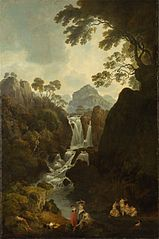 A Waterfall with Bather