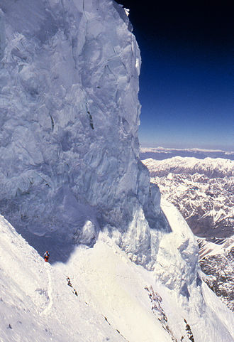 Rick Ridgeway - Formidable serac loom above the Bottleneck, 400m below the 28,251 ft summit of K2 – the second highest in the world, which Ridgeway reached without supplemental oxygen in 1978 (image from 1986)