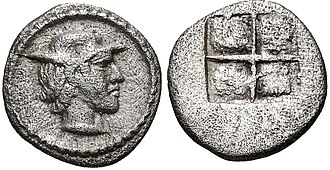Alexander I of Macedon - Coin from the end of the reign of Alexander I, struck circa 460-450 BC. Young male head right, wearing petasos.