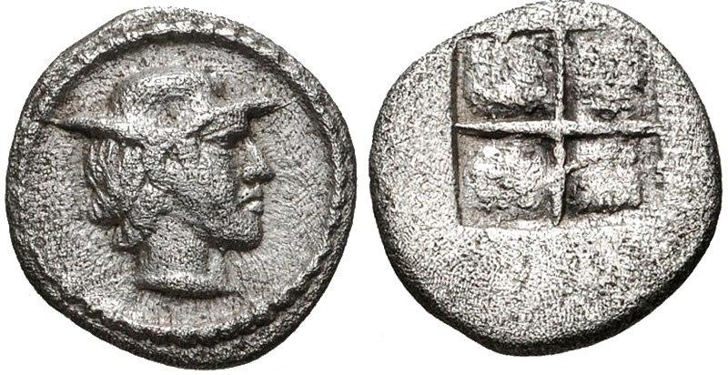 KINGS of MACEDON. Alexander I. 498-454 BC. AR Obol (8mm, 0.46 g). Struck circa 460-450 BC. Young male head right, wearing petasos
