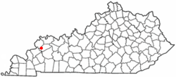 Location of Wheatcroft, Kentucky