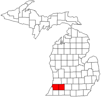 Kalamazoo–Portage metropolitan area - Map of Michigan highlighting the Kalamazoo-Portage metropolitan area.