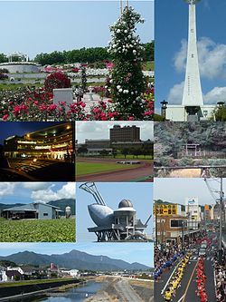 Top left: Kanoya Rose Park, Top right: Kushira Memorial Tower, 2nd left: Kanoya Ring City, 2nd middle: Kanoya University of Physical Education, 2nd right: Mount Aira Tomb, 3rd left: Kasanohara Plateau, 3rd middle: Kihoku Celestial Sphere Museum, Bottom left :Kimotsuki River and Mount Takakuma, Bottom right: Kanoya Summer Festival