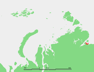 Nordvik, Russia - Map showing the location of Nordvik Bay. Nordvik penal colony was located in the small peninsula on the western side of the bay.