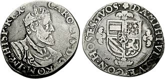 Southern Netherlands - Silver florin of Emperor Charles V with the coat of arms of the House of Burgundy (Low Countries, etc.) c. 1553.