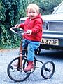 Karen Ogilvie on 1920s tricycle 1969.jpg
