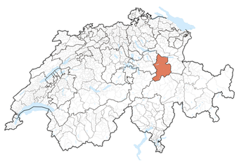 Location of the canton in Switzerland