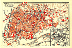 1888 German map of Strasbourg in 1888 as part of the German Empire.