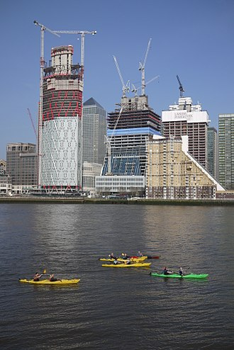 Kayaking - Kayakers on the River Thames near Canary Wharf, London