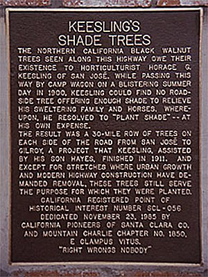 Monterey Road (California) - Keesling's Shade Trees Plaque on Monterey Road