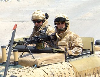 Osprey body armour - Two members of the RAF Regiment wearing Kestrel body armour. Note the difference between it and Osprey, in particular the fixed upper arm protectors and the small plate in the chest.