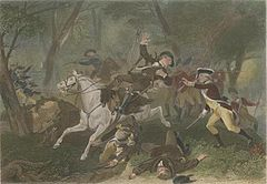 Un oficial británico herido cae de su caballo después de ser alcanzado por disparos;  otro oficial británico en su derecho extiende sus manos hacia adelante para sostener al jinete herido;  tropas escaramuzas en el fondo;  los hombres yacen muertos a los pies del jinete.