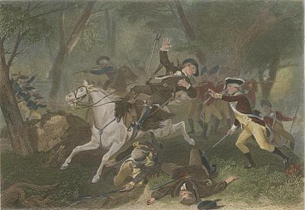 Depiction of the death of British Major Patrick Ferguson, during the American Revolutionary War. He was shot while commanding Loyalist regulars and militia at the Battle of Kings Mountain. KingsMountain DeathOfFerguson Chappel.jpg