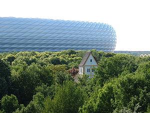 Holy Cross Church, Munich - Holy Cross Church with Allianz Arena