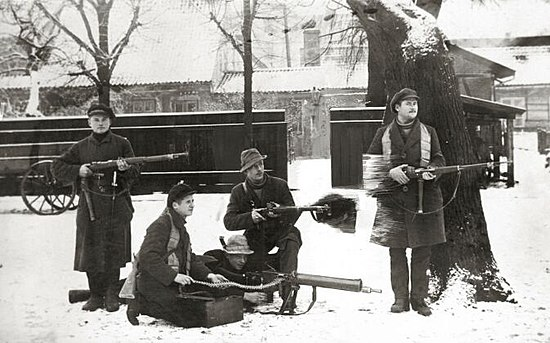 Lithuanian rebels during the Klaipeda Revolt Klaipeda Revolt 1923 - Lithuanian rebels.jpg