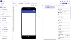 Screenshot from Kodular Creator, where you develop apps
