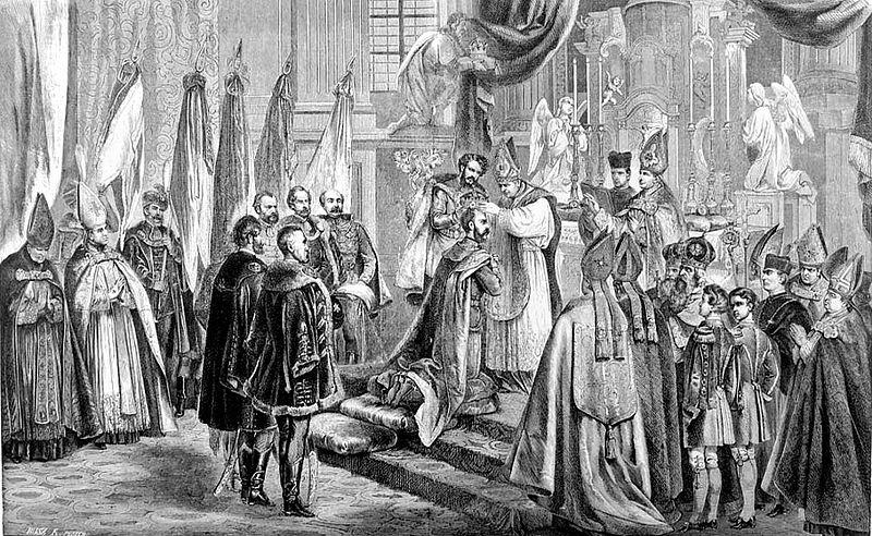 File:Kollarz Ferenc I. Ferenc józsef magyar király megkoronázása a budavári plébánia-templomában, junius 8-án 1867.jpg