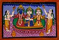 Krishna, Rakmini, Ballarama in Jagannath style and two worsh Wellcome V0044946.jpg
