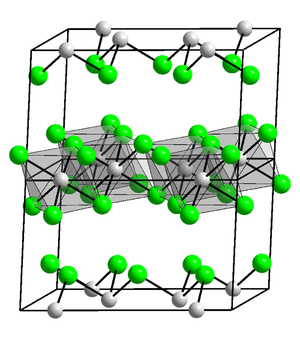 Indium - InCl<sub>3</sub> (structure pictured) is a common compound of indium.