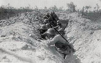 Central Powers - Austro-Hungarian soldiers in trench on the Italian front during World War I.