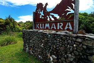 Kumara, New Zealand - Sign beside SH6 on the outskirts of Kumara
