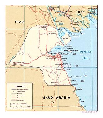 Geography of Kuwait - A map of Kuwait.