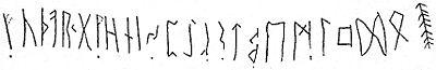Alfabeto rúnico, na Pedra de Klyver, datada de 400 d.C.
