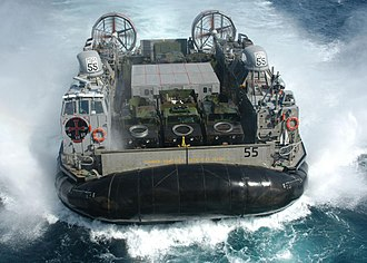 Landing Craft Air Cushion - A US Navy LCAC maneuvers to enter the well deck of the amphibious assault ship USS ''Kearsarge''
