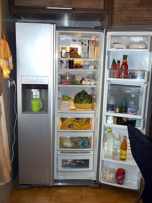 Refrigerator - A side-by-side refrigerator-freezer with an icemaker