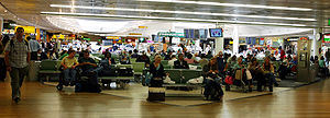 The waiting area at London Heathrow airport's ...