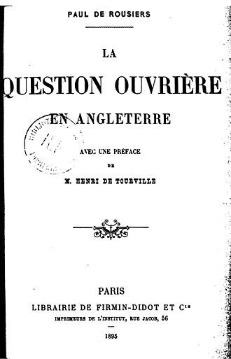 Paul de Rousiers - Frontispiece of La question ouvrière en Angleterre (1895)