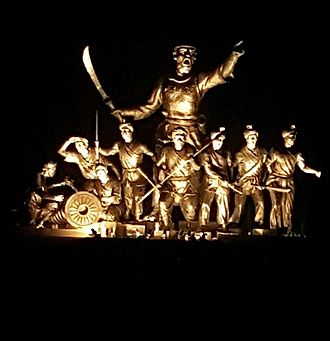 Lachit Borphukan - 35-feet-high statue of Ahom general Lachit Borphukan and his army in the middle of the Brahmaputra.
