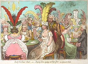 Lady Godiva in popular culture - In Lady Godina's Rout (1796), James Gillray appealed to the Godiva legend in caricaturing the fashions of the time.