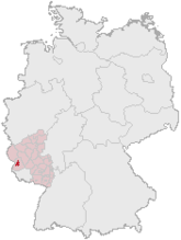 Map of Germany, Position of تری‌یر highlighted