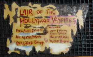 Hollywood Vampires (band) - A plaque at the Rainbow Bar and Grill in West Hollywood which honors the drinking club.