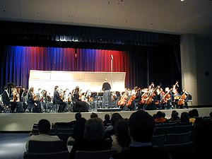 Shell (theater) - An image of the Lake Braddock Symphony Orchestra performing at District IX Festival, on March 18, 2006 at Centreville High School. Behind the orchestra is a simple shell.