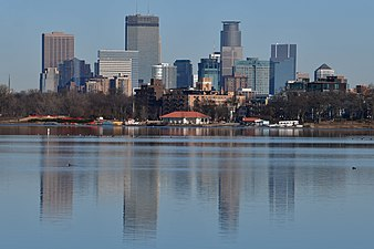 Lake Calhoun refectory and downtown Minneapolis skyline 2017-12-02.jpg