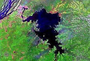 Lake Tumba - seen from space (false color)