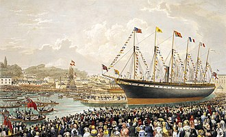 SS Great Britain - A painting of the launch in 1843