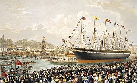 The 1843 launch of the Great Britain, the revolutionary ship of Isambard Kingdom Brunel