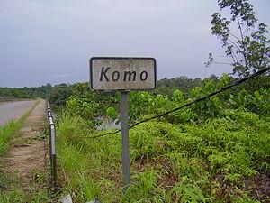Komo River - Sign at a bridge of the river Komo